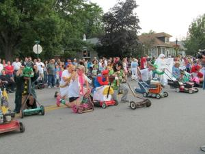 The starting line for the Pierogi Fest lawnmower race.