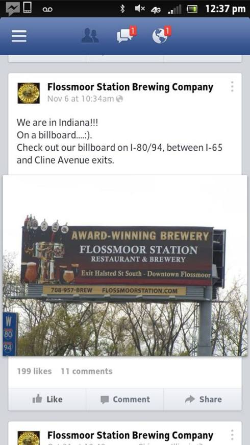 Flossmoor Brewery advertises Illinois location in Indiana.