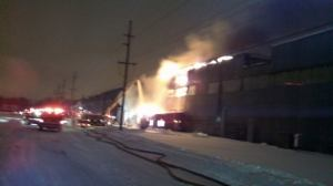 steel plant fire in woodmar section of Hammond, IN
