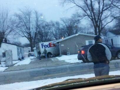 federal express truck crashes into house in hammond, indiana