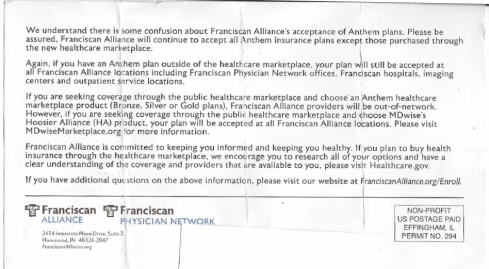 A letter distributed by Franciscan Alliance.
