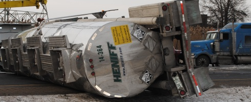 haz mat tanker rolls on indiana toll road