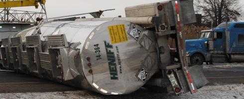 haz mat tanker rolls on indiana toll road